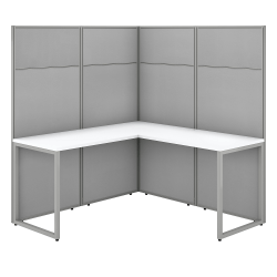 """Bush Business Furniture Easy Office 60""""W L-Shaped Cubicle Desk Workstation With 66""""H Panels, Pure White/Silver Gray, Standard Delivery"""
