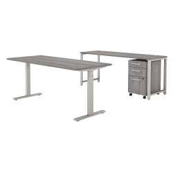 """Bush Business Furniture 400 Series 72""""W x 30""""D Height-Adjustable Standing Desk With Credenza And Drawers, Platinum Gray, Premium Installation"""
