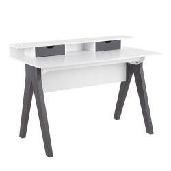 "LumiSource Wishbone 48""W Desk, Gray/White"