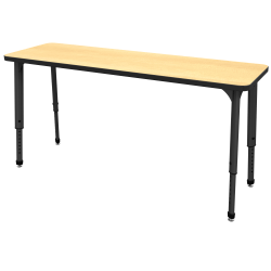 "Marco Group Apex™ Series Adjustable Rectangle Student Desk, 20"" x 60"", Fusion Maple/Black"
