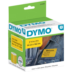 "Dymo® Label Writer Multi-Purpose Labels, 2-1/8"" x 4"", Yellow, 220 Labels Per Roll"