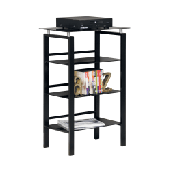 "Realspace® Lake Point 38"" 3 Shelf Contemporary Bookcase, Black/Powder Coat"