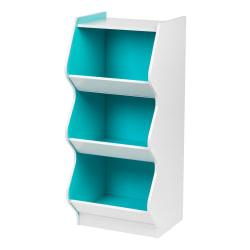 IRIS 3-Tier Curved-Edge Storage Shelf, Blue/White