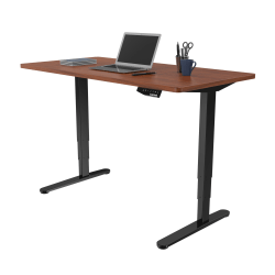 Loctek Electric Height-Adjustable Stand-Up Desk, Black/Mahogany