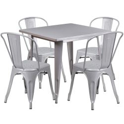 "Flash Furniture Commercial-Grade Square Metal Table Set With 4 Stack Chairs, 29-1/2""H x 31-1/2""W x 31-1/2""D, Silver"