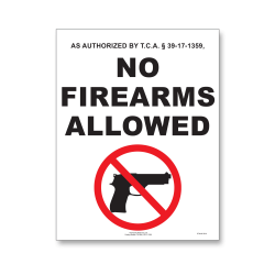 """ComplyRight State Weapons Law Poster, English, Tennessee, 8 1/2"""" x 11"""""""