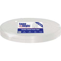 "Tape Logic® Double Sided Foam Tape, 1/32"", 1"" x 72 Yd., White, Case Of 2"