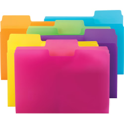 Smead® SuperTab File Folders, Letter Size, 1/3 Cut, Assorted Colors, Pack Of 18