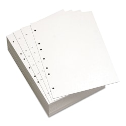 Lettermark™ Custom Cut Sheets, Letter Size, Prepunched Left, 7-Hole, 20 Lb, 500 Sheets Per Ream, Pack Of 5 Reams