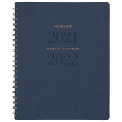 """AT-A-GLANCE® 13-Month Signature Collection Academic Weekly/Monthly Planner, 8-1/2"""" x 11"""", Navy, July 2021 To July 2022, YP905A20"""