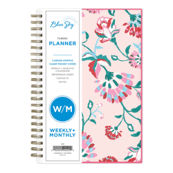 """Blue Sky™ Breast Cancer Awareness Weekly/Monthly CYO Planner, 5"""" x 8"""", Garden Flower, January To December 2021, 101618"""