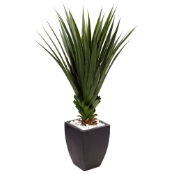 Nearly Natural 4-1/2'H Spiked Agave Artificial Plant With Planter, Black/Green