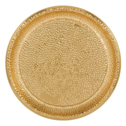 """Amscan Plastic Serving Trays, 16"""", Hammered Gold, Set Of 2 Trays"""