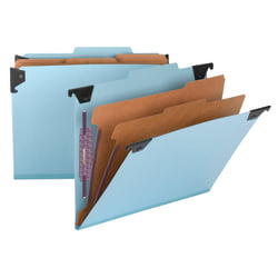 Smead® Hanging Pressboard Classification Folder With SafeSHIELD® Coated Paper Fastener, 2 Dividers, Letter Size, 30% Recycled, Blue