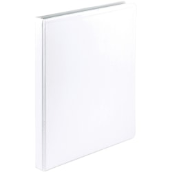 "Samsill Economy 1/2"" View Ring Binder - 1/2"" Binder Capacity - Round Ring Fastener(s) - Polypropylene, Chipboard - White - Recycled - Durable, Clear Overlay - 12 / Carton"