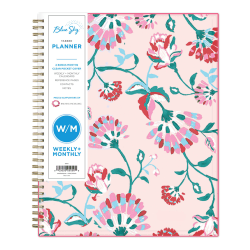 "Blue Sky™ Breast Cancer Awareness Weekly/Monthly CYO Planner, 8-1/2"" x 11"", Garden Flower, January To December 2021, 101617"