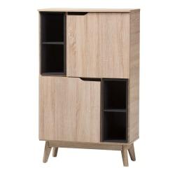 Baxton Studio Kian Storage Cabinet, Light Brown/Gray