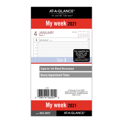 "AT-A-GLANCE® Weekly Planner Refill, Size 3, 3-3/4"" x 6-3/4"", January To December 2021, 063-285Y"