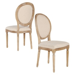 Linon Spencer Oval-Back Dining Chairs, Light Natural Brown/Natural, Set Of 2 Chairs
