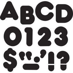 """Trend 3"""" Casual Uppercase Ready Letters - 83, 28 (Capital Letter, Punctuation Marks) Shape - Casual Style - Reusable, Precut - 3"""" Height x 9"""" Length - Black - Paper - 1 Pack"""