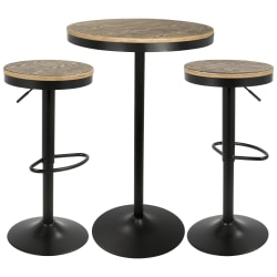 Lumisource Dakota Industrial Farmhouse Table With 2 Bar Stools, Black/Brown