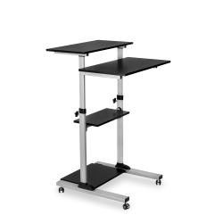 """Mount-It! MI-7940 Mobile Stand-Up Desk, 30-1/2""""H x 37""""W x 4-1/4""""D, Silver"""