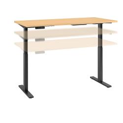 "Bush Business Furniture Move 60 Series 60""W x 24""D Height Adjustable Standing Desk, Natural Maple/Black Base, Standard Delivery"