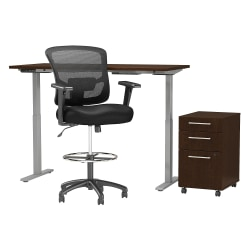 "Move 60 Series by Bush Business Furniture 60""W Height Adjustable Standing Desk With Storage And Drafting Chair, Mocha Cherry, Standard Delivery"