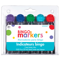 Amscan Bingo Markers, Broad Point, Assorted Colors, Set Of 5 Markers