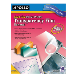 Apollo Quick-Dry Universal Inkjet Transparency Film, Box Of 50