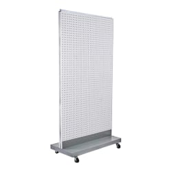 "Azar Displays 2-Sided Double Pegboard Floor Display With Wheels, 66"" x 32"", White"