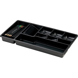 """OIC Economy Drawer Tray - 9 Compartment(s) - 9"""" Height x 16"""" Width x 1.5"""" Depth - Drawer - Black - 1Each"""