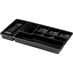 "OIC Economy Plastic 9-Compartment Storage Drawer Tray, 1 1/2"" x 16"" x 9"", Black"