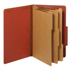 """Office Depot® Brand Classification Folder, 3 Dividers, Legal Size (8-1/2"""" x 14""""), 3-1/2"""" Expansion, Red"""