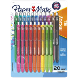 Paper Mate® InkJoy® Gel Pens, Medium Point, 0.7 mm, Assorted Colors, Pack Of 20