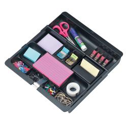 "3M™ Plastic 11-Compartment Storage Desk Drawer Organizer, 1"" x 11 3/4"" x 11 14/16"", Black"