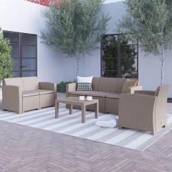 Flash Furniture 4-Piece Outdoor Faux-Rattan Patio Set, Light Gray