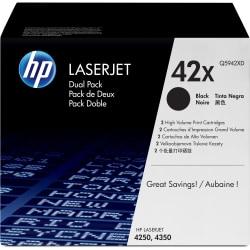 HP 42X, Black Original Toner Cartridges (Q5942XD), Pack Of 2