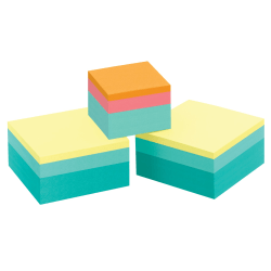 """Post it® Notes Memo Cubes, 3"""" x 3"""", Emerald Wave , Pack Of 3 Cubes"""