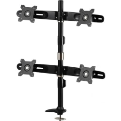 """Amer Mounts Grommet Based Quad Monitor Mount for four 15""""-24"""" LCD/LED Flat Panel Screens - Supports up to 17.6lb monitors, +/- 20 degree tilt, and VESA 75/100"""