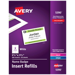 """Avery® Laser Name Badge Inserts, 2 1/4"""" x 3 1/2"""", Box Of 400"""