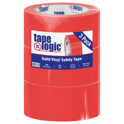 """BOX Packaging Solid Vinyl Safety Tape, 3"""" Core, 2"""" x 36 Yd., Red, Case Of 3"""