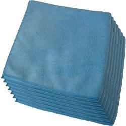 "Genuine Joe General Purpose Microfiber Cloth - Cloth - 16"" Width x 16"" Length - 12 / Bag - Blue"