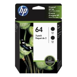 HP 64 Black Ink Cartridges (3YP22AN#140), Pack Of 2