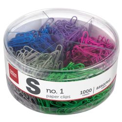 Office Depot Brand® Brand Brand Clips, No. 1, 10-Sheet Capacity, Assorted Colors, Tub Of 1,000 Clips