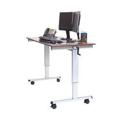 """Luxor Crank 60""""W Adjustable Stand Up Desk, Dark Walnut/Silver"""