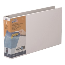 """Stride® QuickFit® D-Ring Overlay Binders, Ledger, 2"""" Rings, 11"""" x 17"""" Sheet Size, 58% Recycled, White"""