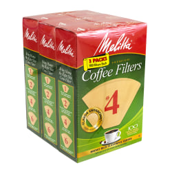 Melitta #4 Coffee Filters, Brown, 100 Filters Per Pack, Pack Of 3