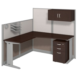 Bush Business Furniture Office In An Hour L Workstation With Storage & Accessory Kit, Mocha Cherry Finish, Standard Delivery