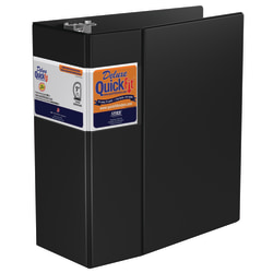 """Stride® QuickFit® Space-Saving Commercial 3-Ring Binder, 5"""" D-Rings, 43% Recycled, Black"""